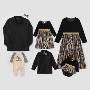 Mosaic Family Matching Velvet Sets(Zebra Dresses - Button Front Shirts - Rompers)