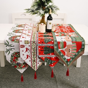 Cute Cotton And Linen Embroidery Christmas Table Flag Table Runner Decoration