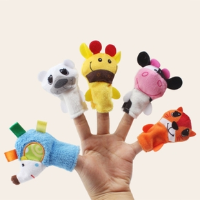 5-pcs Baby Animal Finger Puppet Plush Toys high quality Cartoon Biological Child Toddler Gift