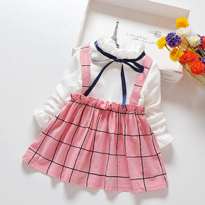 Baby / Toddler Elegant Faux-two Plaid Dress