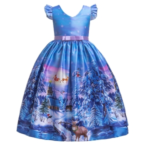 Beautiful Christmas Elk Print Strappy Ruffled Party Dress