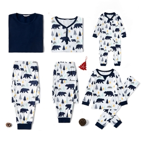 Christmas Tree and Bear Print Family Matching Pajamas Set
