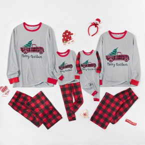 'Plaid Truck Carry Christmas Tree' Family Matching Pajamas Sets