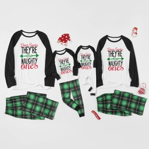 Christmas Letter Print Green Plaid Family Matching Pajamas Sets
