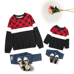 Plaid Splice Sweatshirts for Mom and Me