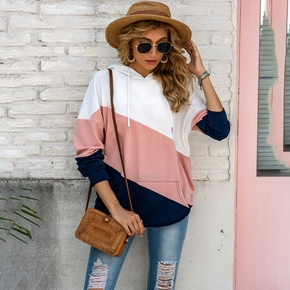 Hooded Color Block Plain long sleeve normal Pullover