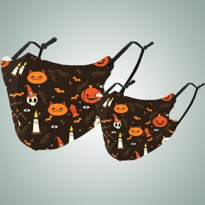 Halloween kitty Print Protective Anti Dust Breathable Family Mask (Washable and Reusable)