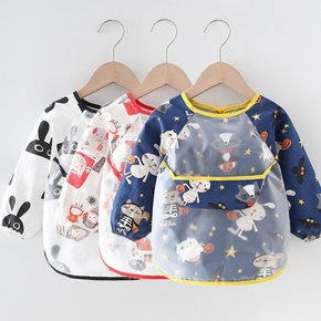 Baby Cartoon Animal Long Sleeve Bibs Waterproof Reversible Bandana Bibs Children Eating Drawing Apron Toddler Feeding Burp Cloth