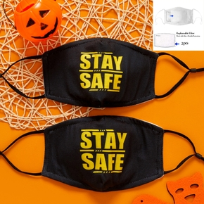 3-Layer STAY SAFE Letter Print Solid Half Face Mask (Include Two Replaceable Filters)