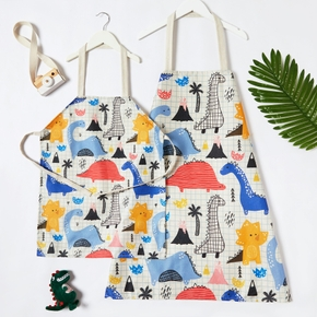 Mommy and Me Cute Dinosaur Print Plaid Linen Aprons