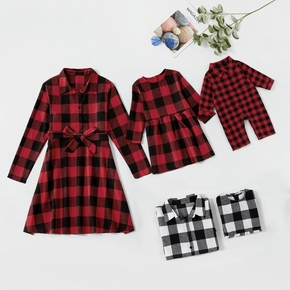 Long-sleeve Matching Plaid Mini Dresses