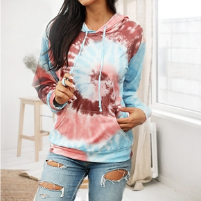 Hooded Tie dye Positioning print long sleeve normal Hooded