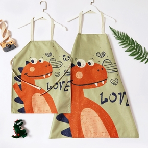 Cute Dinosaur Love Print Linen Aprons for Mommy and Me