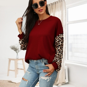 Round collar Leopard Positioning print long sleeve normal Pullover
