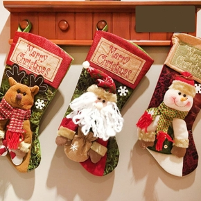 Christmas Socks  gift bag elk embroidery Gifts Holder Christmas Tree Decoration New Year Candy Bags