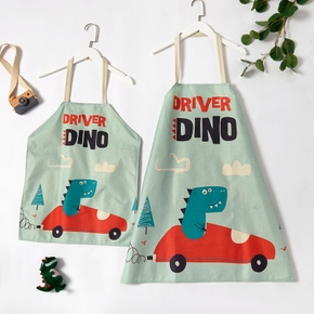 Adorable Dinosaur Driving Print Linen Aprons for Mommy and Me