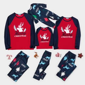 Family Matching Merry Christmas Reindeer Pajamas Sets (Flame Resistant)