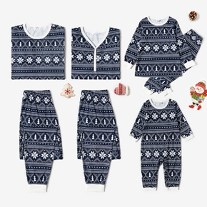 Family Matching Snowflake and Christmas Tree Patterned Pajamas Sets (Flame Resistant)