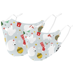 Christmas Day Polar Bear Print Protective Anti Dust Breathable Family Mask (Washable and Reusable)