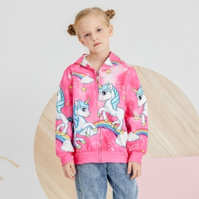Fashionable Unicorn Rainbow Print Allover Hooded Coat