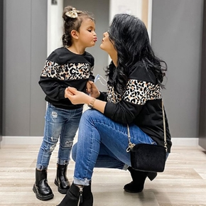 Leopard Print Black Sweatshirts for Mom and Me