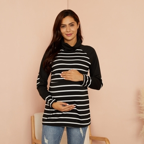 Maternity Stripes full print Black Long-sleeve Nursing Tee