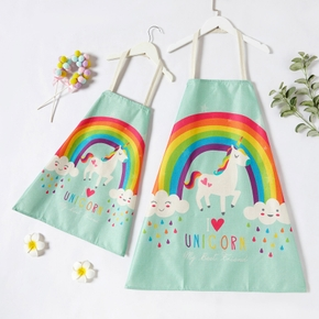 Rainbow and Unicorn Print Aprons for Mommy and Me