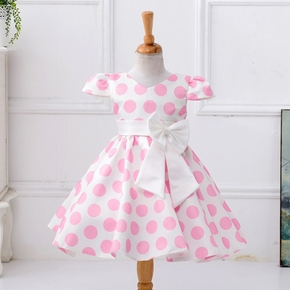 Baby / Toddler Girl Bowknot Decor Polka Dots Flutter-sleeve  Dress