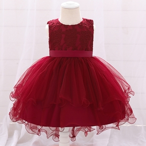 Baby / Toddler Embroidered Mesh Sleeveless Party Dress