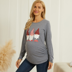 Maternity Round collar Christmas tree Positioning print Grey T-shirt