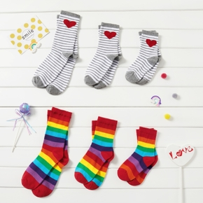 Rainbow and Heart Pattern stripes Socks Sets for Family