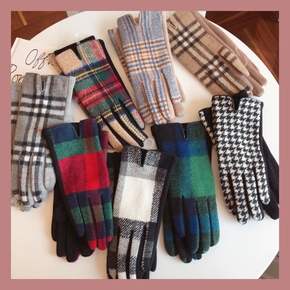 Winter Plaid Knitted Gloves Touch Screen High Quality Mitten