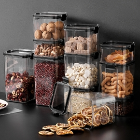 Plastic Food Grade Storage Box Sealed Tank Transparent Bottle Jar Container Snack Nuts Grain Coffee Can Kitchen Household
