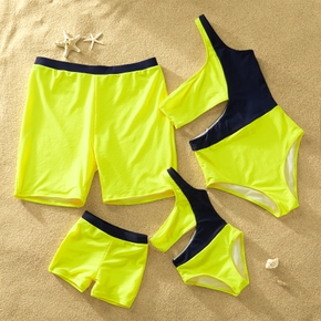 Yellow and Black Color Block Series Family Matching Swimsuits( One Shoulder One Piece Swimsuits for Mom and Me ; Swim Swim Trunks for Dad and Boy)