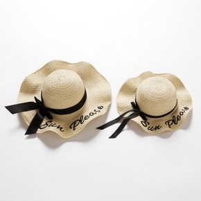 Letter Printed Bowknot Decor Straw Hats for Mommy and Me