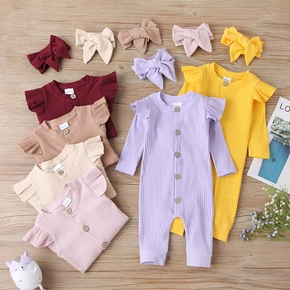 Baby Solid Flounced Jumpsuit with Headband Set