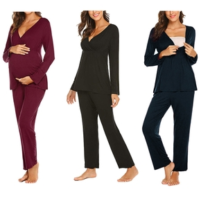 Cozy Solid Long-sleeve Nursing Pajamas
