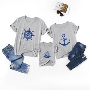 Boat Series Pattern Short-sleeve Family Matching Grey Tops