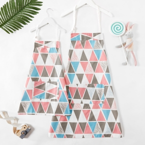 Geometric Pattern Print Front Pocket Family Matching Aprons