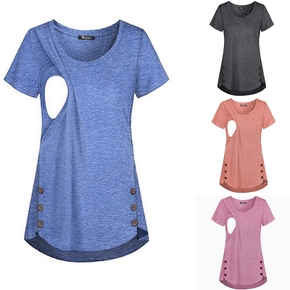 Beautiful Button Design Nursing Tee