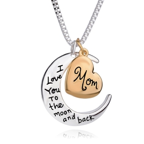 Mother's Day Letter Pendant I Love You Moon Heart Mom Necklace Accessories Fashion Jewelry