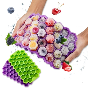 37 Cell Honeycomb Silicone Ice Tray With Lid Ice Cream Whiskey Cocktail Cold Drink Molds
