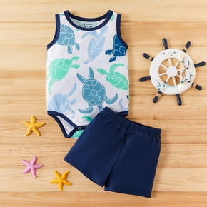 2pcs Baby Boy Sea Tortoise Print Sleeveless Bodysuit and Shorts Set