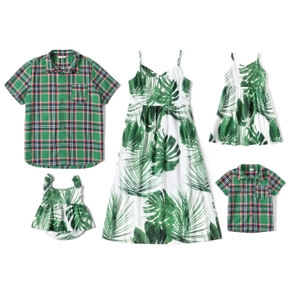 Mosaic Leaves Print and Plaid Family Matching Green and White Sets