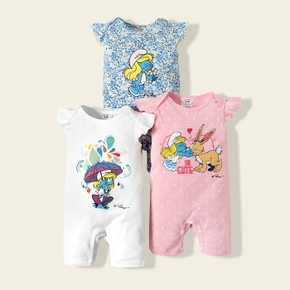 Smurfs Baby Girl 100% Cotton Floral and Polka Dots One Piece