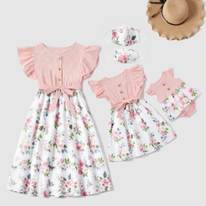 Mommy and Me Floral Pink casual A Matching Dresses