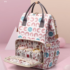 Multicolorful Polar Bear Print Diaper Bag Backpack Large Capacity Durable Maternity Travel Backpack For Baby Care