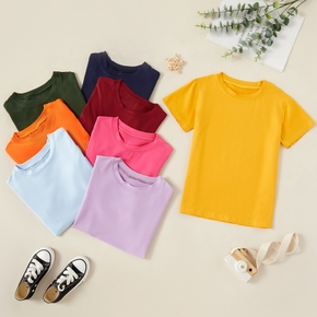 Pretty Kid Girl Solid Color Short-sleeve Tee
