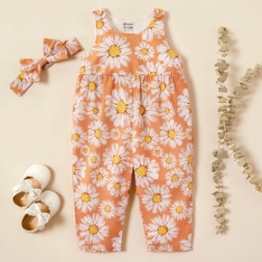 2 pcs Baby Girl Floral Short-sleeve Jumpsuits