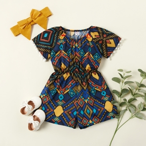 2pcs baby girl Stylish Ethnic Color contrast Jumpsuit